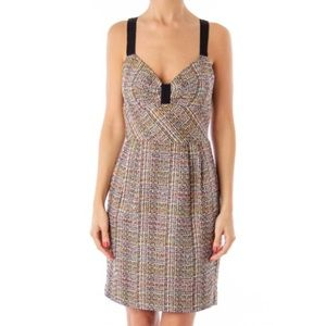 Trina Turk tweed multicolor sweetheart dress